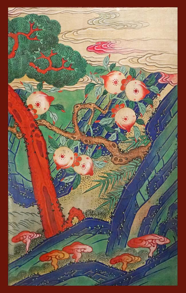 Pêches et champignons (exposition Tigres de papier, musée Guimet)